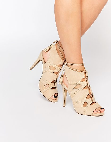 Call It Spring Call It Spring Duchess Nude Tie Up Heeled Sandals in beige - Heels by Call It Spring, Suede-style upper, Lace-up...