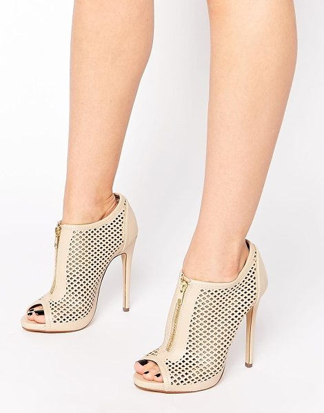 Call It Spring Juillerat nude perforated heeled shoe boots in nude - Shoes by Call It Spring, Leather look fabric, Perforated...