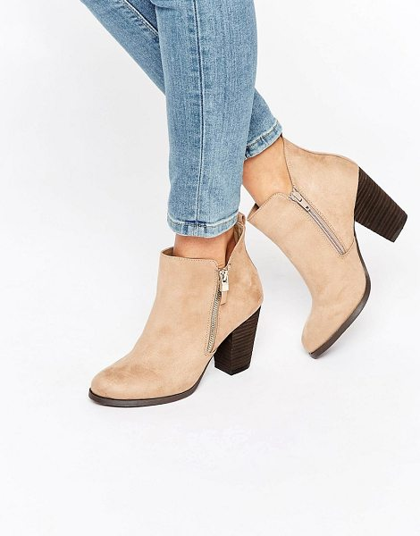 "Call It Spring Call It Spring Kokes Zip Heeled Ankle Boots in beige - """"Boots by Call It Spring, Faux-suede upper, Side zip..."
