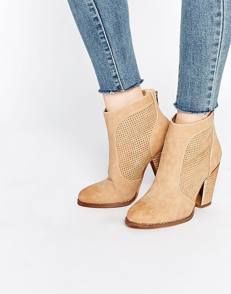 Call It Spring Rasen perforated heeled ankle boots in beige - Boots by Call It Spring, Suede-style upper, Almond toe,...