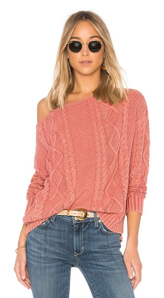 Callahan Cable Knit Off the Shoulder Sweater in rose - 100% cotton. Dry clean only. Cable knit fabric. Ribbed...