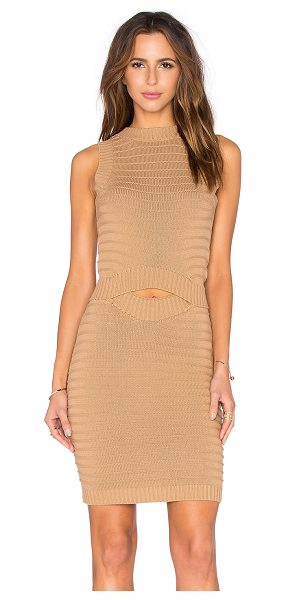 Callahan Cut Out Midi Dress in camel - 100% cotton. Hand wash cold. Unlined. Cut-out detail....