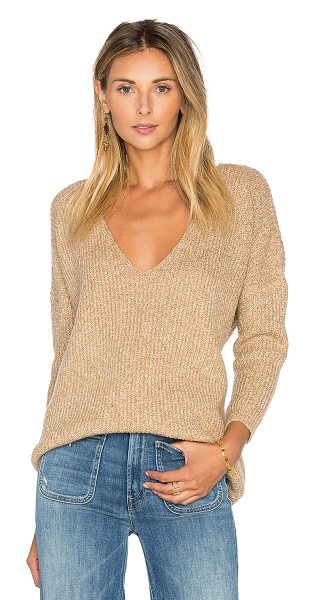 Callahan Heathered V Neck Sweater in heather camel - Cotton blend. Hand wash cold. Rib knit fabric....