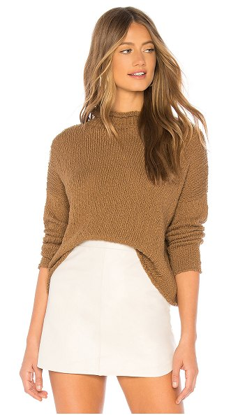 Callahan Liva Sweater in brown - 100% cotton. Hand wash cold. Knit fabric. Rolled edges....
