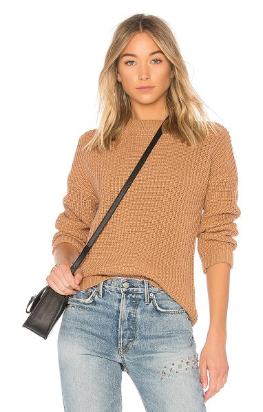 Callahan shaker boyfriend sweater in camel