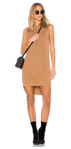 Callahan Shaker Hi Low Mini Dress in brown - 100% cotton. Dry clean only. Unlined. Rib knit fabric....