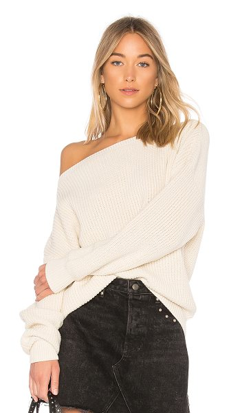 Callahan Shaker Knit Off Shoulder Sweater in cream - 100% cotton. Dry clean only. Rib knit edges. CAHN-WK39....