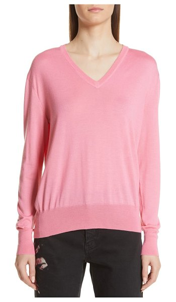 CALVIN KLEIN 205W39NYC cutout cashmere & silk blend sweater in pink - The neckline of this sumptuous cashmere-and-silk sweater...