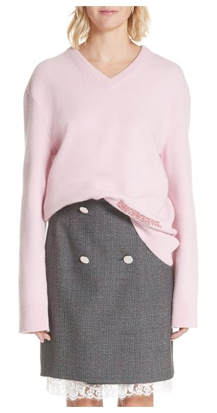 7acf7ed2048b CALVIN KLEIN 205W39NYC logo wool   cotton sweater in pink - Tightly  arranged embroidery tells the