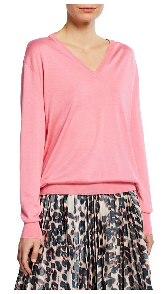 CALVIN KLEIN 205W39NYC Long-Sleeve V-Neck Cashmere Silk Sweater in pink