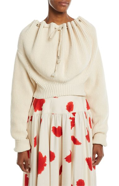bfe5359a33 CALVIN KLEIN 205W39NYC Oversized Cord-Neck Cotton Knit Sweater in ecru - CALVIN  KLEIN 205W39NYC