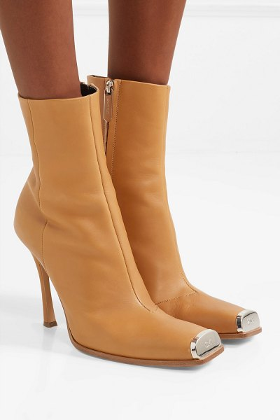 CALVIN KLEIN 205W39NYC wilamiona metal-trimmed leather ankle boots in tan - CALVIN KLEIN 205W39NYC's 'Wilamiona' ankle boots are...