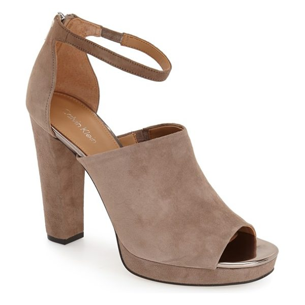 Calvin Klein bel ankle strap sandal in taupe - The sleek minimalist styling of a luxe sandal cut from...