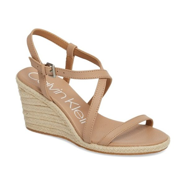 CALVIN KLEIN bellemine espadrille wedge sandal in desert sand pebble leather - An espadrille-wrapped wedge distinguishes a favorite...