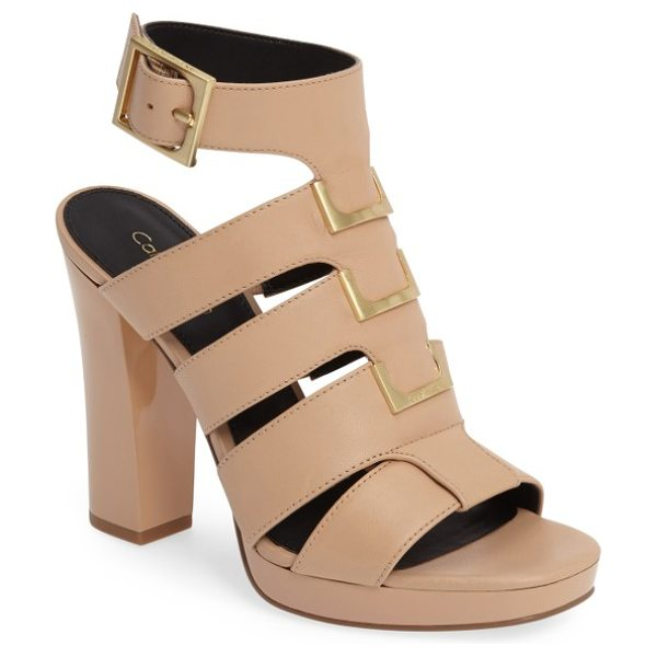 Calvin Klein benita cage sandal in sandstorm leather - A dramatic cage sandal is fashioned with a bold ankle...