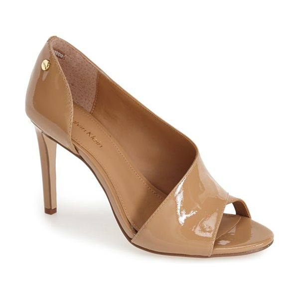 Calvin Klein caelin open toe pump in cameo rose patent leather - An asymmetrical strap and open toe detailing add a fresh...