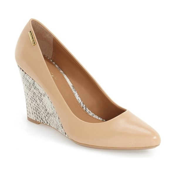 Calvin Klein 'celesse' wedge pump in sandstorm/ soft white leather - Soft suede dresses up a simple wedge pump featuring a...