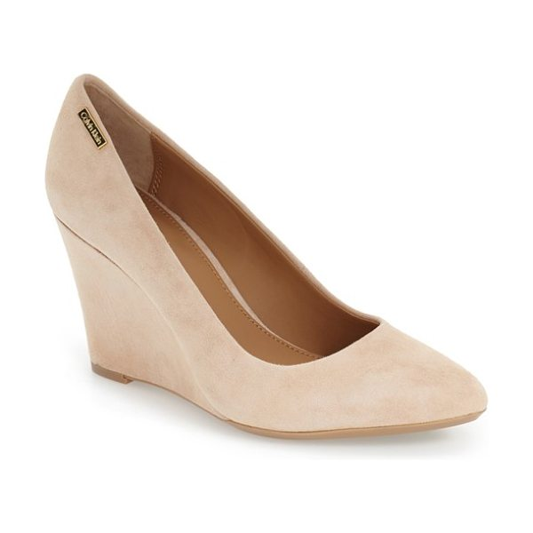 CALVIN KLEIN 'celesse' wedge pump - Soft suede dresses up a simple wedge pump featuring a...