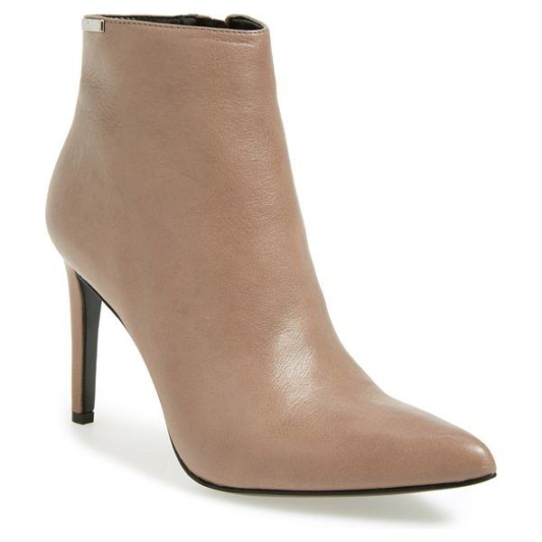 Calvin Klein clariss pointy toe bootie in winter taupe - Buttery-soft leather defines the clean, modern lines of...