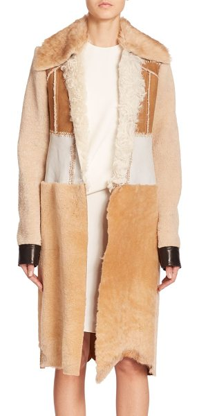 CALVIN KLEIN COLLECTION Demro shearling patchwork coat - Varying textures of soft shearling and leather, joined...