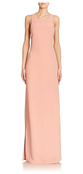 Calvin Klein Collection Dona faille column gown in coralcloud - This elegant column gown in pastel faille is finished...