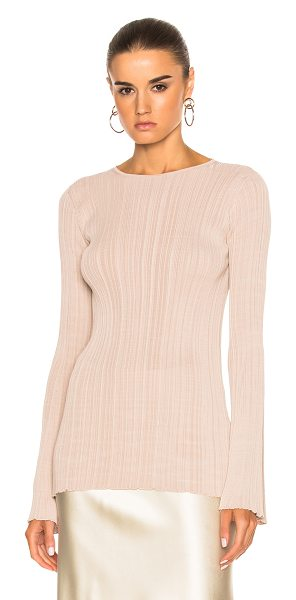 Calvin Klein Collection Elodie Variegated Rib Long Sleeve Tee in powder - 100% viscose. Made in Italy. Dry clean only. Rib knit...