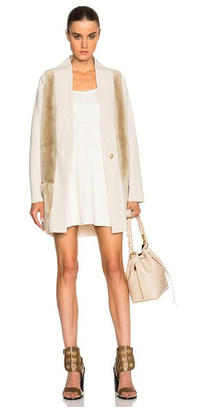 Calvin Klein Collection Tigel cashmere shearling coat in neutrals - Self: 90% new wool 10% cashmere - Contrast Fabric: 100%...