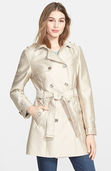 Calvin Klein double breasted satin trench coat in buff - Gleaming hardware and a luminous fabrication lend...
