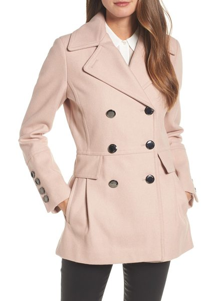 CALVIN KLEIN double breasted wool blend peacoat - A classic wool-blend peacoat gets a playful update with...