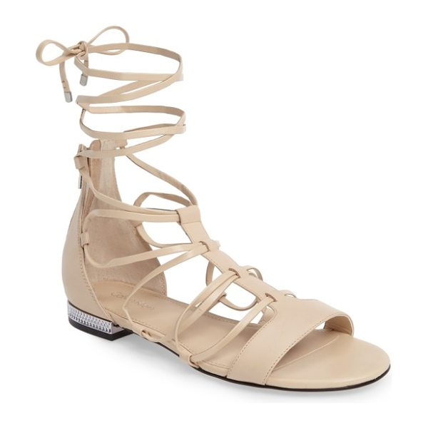 Calvin Klein elina lace-up sandal in sand leather - A textured rand at the heel elevates a sleek leather...
