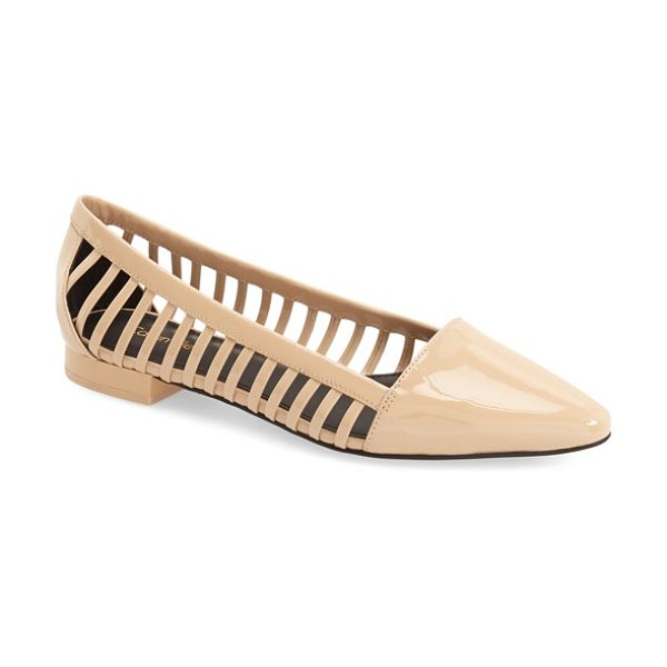 Calvin Klein elouise patent cutout flat in sandstorm - Laddered cutouts offer trend-savvy appeal to a chic flat...
