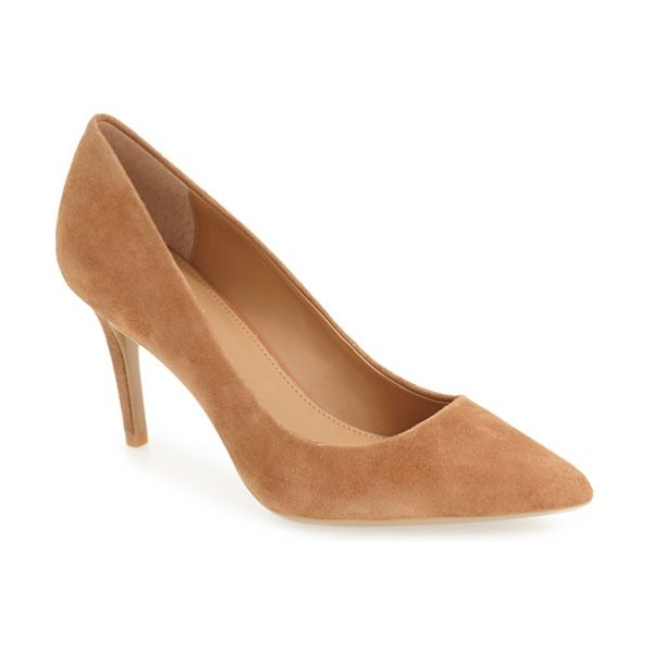 Calvin Klein 'gayle' pointy toe pump in new caramel suede - The essential pointy-toe pump is primed to go from...