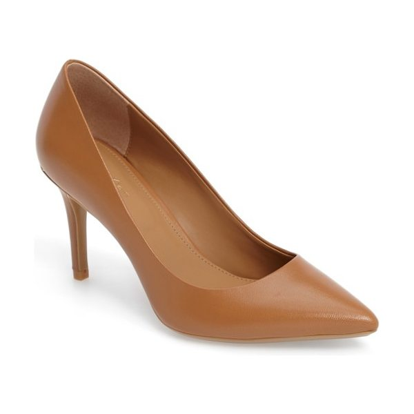Calvin Klein 'gayle' pointy toe pump in caramel leather - The essential pointy-toe pump is primed to go from...