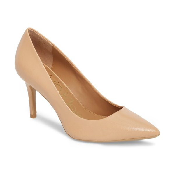 Calvin Klein 'gayle' pointy toe pump in blush/ nude leather - The essential pointy-toe pump is primed to go from...
