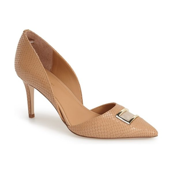 Calvin Klein gerica dorsay pointy toe pump in cameo rose snake leather - A geometric mesh inset traced in gleaming goldtone...