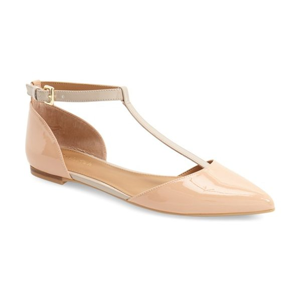 Calvin Klein 'ghita' t-strap flat in blush nude/ cocoon patent - A gilt heel embellishment adds a sophisticated flourish...