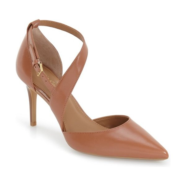 Calvin Klein 'gildana' pointy toe pump in caramel leather - A tapered asymmetrical strap crosses dramatically up the...