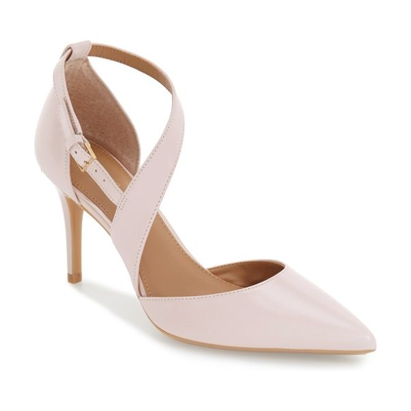 Calvin Klein 'gildana' pointy toe pump in blush leather - A tapered asymmetrical strap crosses dramatically up the...