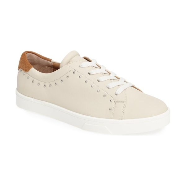 Calvin Klein illia studded platform sneaker in white/ almond tan leather - Tiny dome studs punctuate the buttery-soft leather of an...