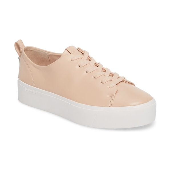 Calvin Klein janet platform sneaker in pink leather - A superchunky platform with subtle logo detailing...