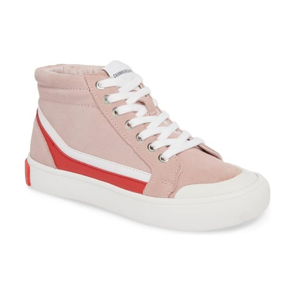 Calvin Klein Jeans high top sneaker in chintz rose/ white/ tomato - A bumper sole and toe elevate the street style of a...