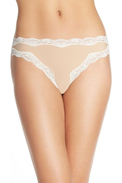 CALVIN KLEIN lace trim thong - Scalloped lace frames a supersoft and comfy thong...