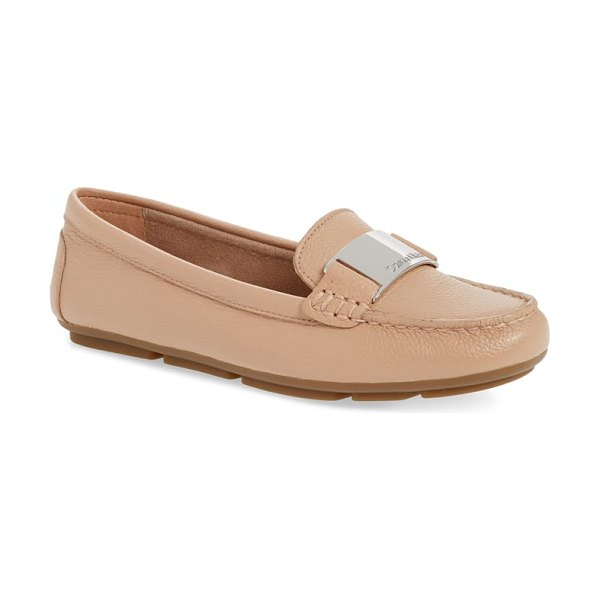 Calvin Klein lisette loafer in beige - Bold logo hardware gleams at the vamp of an impeccable...