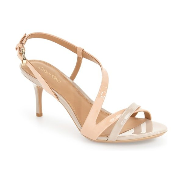 Calvin Klein 'lorren' leather sandal in blush nude patent - A curve of straps tops this alluring sandal that...