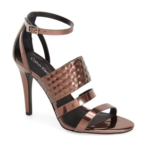 Calvin Klein mayra cage sandal in espresso - A sophisticated, modern sandal finished with a slim...