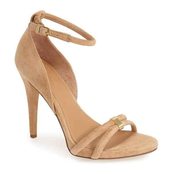 Calvin Klein nathali ankle strap sandal in cameo rose suede - A low platform and sky-high heel elevate this...