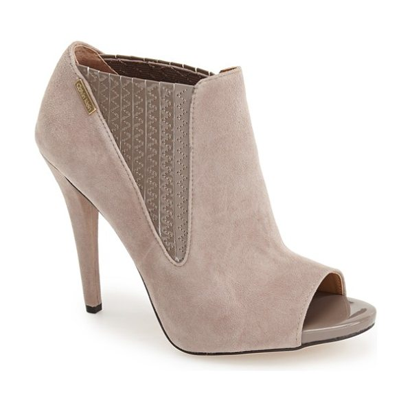CALVIN KLEIN neive peep toe bootie in winter taupe suede/ patent - Glossy patent leather lends textural contrast at the...