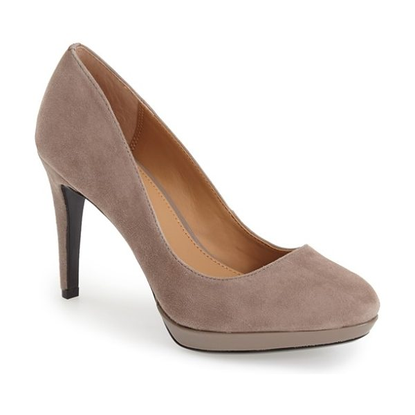 Calvin Klein paulette platform pump in winter taupe suede/ patent - Perfectly poised to go from office to after hours, this...