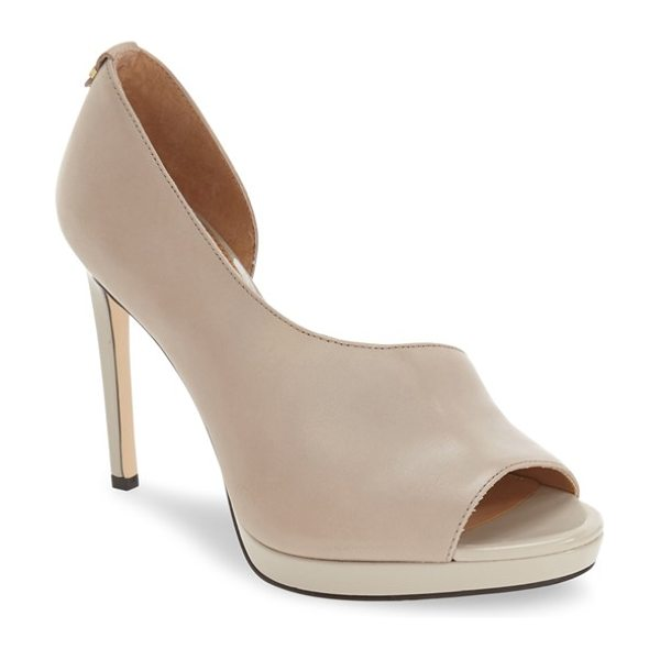 Calvin Klein 'saira' peep toe demi-d'orsay platform pump in clay leather - A low platform and a towering squared stiletto lift an...