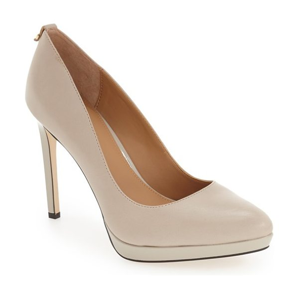 Calvin Klein 'suzanne' platform pump in clay leather - The essential pointy-toe pump is primed to go from...